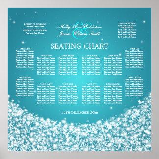 Elegant Wedding Seating Chart Star Sparkle Blue Print