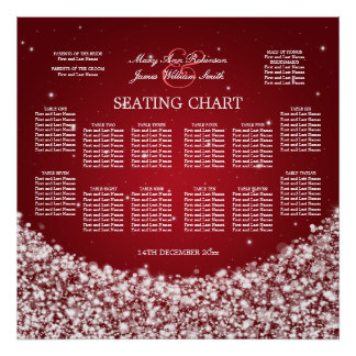 Elegant Wedding Seating Chart Star Sparkle Red Poster