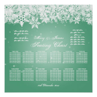 Elegant Wedding Seating Chart Winter Snow Mint Poster