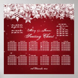 Elegant Wedding Seating Chart Winter Snow Red Poster