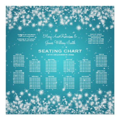 Elegant Wedding Seating Chart Winter Sparkle Blue Poster