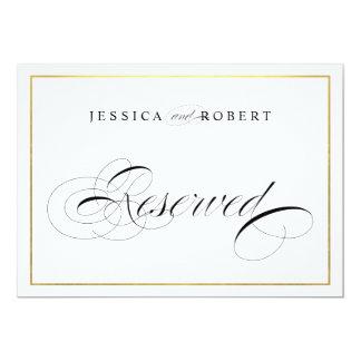 Elegant Wedding Sign Reserved Faux Gold Border Card