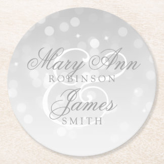 Elegant Wedding Silver Bokeh Sparkle Lights Round Paper Coaster