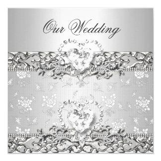 Elegant Wedding Silver White Diamond Heart 13 Cm X 13 Cm Square Invitation Card