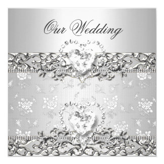 Elegant Wedding Silver White Diamond Heart Card