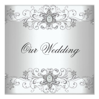 Elegant Wedding Silver White Diamond Jewel Card
