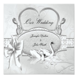 Elegant Wedding Silver White Swans Heart Bow Card