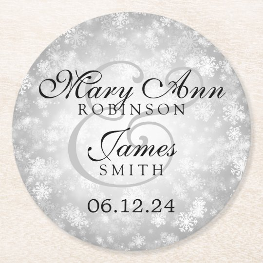 Elegant Wedding Silver Winter Wonderland Round Paper Coaster