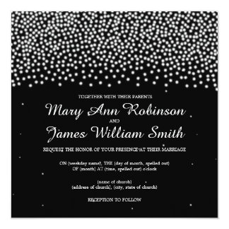 Elegant Wedding Simple Sparkle Black Card