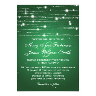 Elegant Wedding Sparkling Lines Emerald Green 13 Cm X 18 Cm Invitation Card