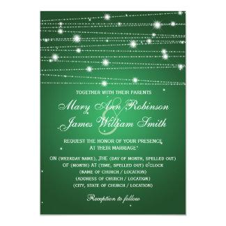 Elegant Wedding Sparkling Lines Emerald Green 13 Cm X 18 Cm Invitation Card