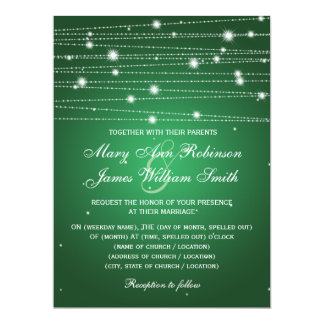 Elegant Wedding Sparkling Lines Emerald Green 17 Cm X 22 Cm Invitation Card