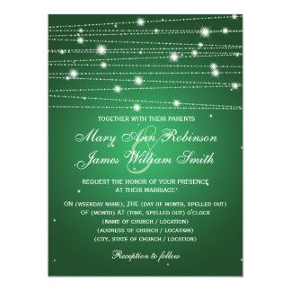 Elegant Wedding Sparkling Lines Emerald Green 17 Cm X 22 Cm Invitation Card