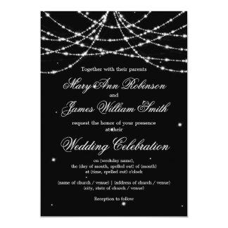 Elegant Wedding Sparkling String Black 13 Cm X 18 Cm Invitation Card