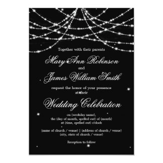 Elegant Wedding Sparkling String Black Card