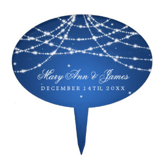 Elegant Wedding Sparkling String Blue Cake Topper