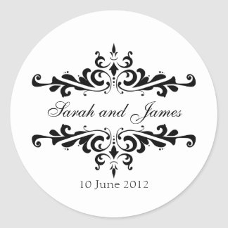 Elegant Wedding Stickers with Names and Date