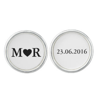 Elegant Wedding Stylish Monogram Black White Cufflinks