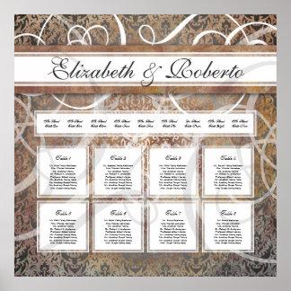 Elegant Wedding Table Seating Chart Tuscan Damask Poster