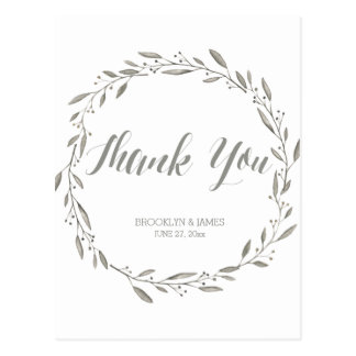 Elegant Wedding Thank You Postcards Grey Wreath