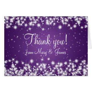 Elegant Wedding Thank You Winter Sparkle Purple Card
