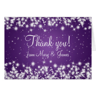Elegant Wedding Thank You Winter Sparkle Purple Greeting Card