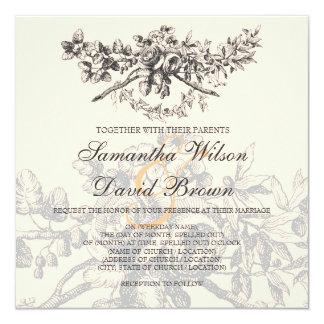 Elegant Wedding Vintage Floral Decor Black Card