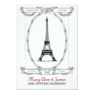 Elegant Wedding Vintage Paris Postcard Custom Announcements