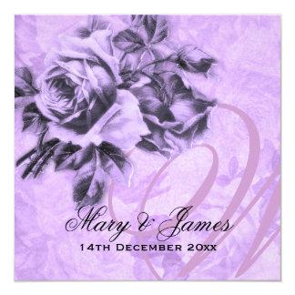 Elegant Wedding Vintage Roses Purple 13 Cm X 13 Cm Square Invitation Card