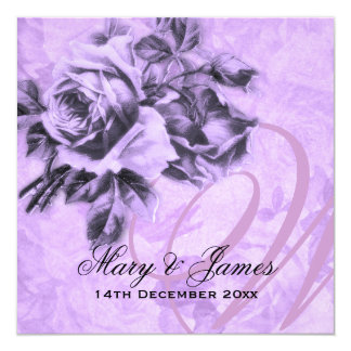 Elegant Wedding Vintage Roses Purple 13 Cm X 13 Cm Square Invitation Card