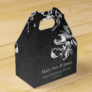 Elegant Wedding Vintage Swirls 2 Black Favour Box