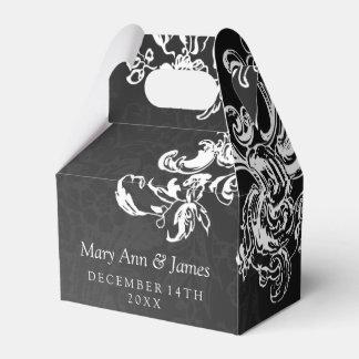 Elegant Wedding Vintage Swirls 2 Black Wedding Favour Box