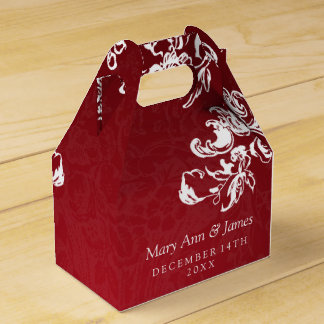 Elegant Wedding Vintage Swirls 2 Red Favour Box