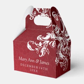Elegant Wedding Vintage Swirls 2 Red Party Favour Box