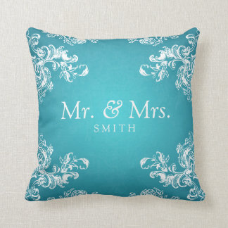 Elegant Wedding Vintage Swirls 2 Turquoise Throw Cushions