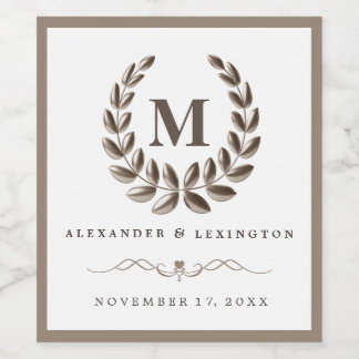 Elegant Wedding Wine Bottle Label