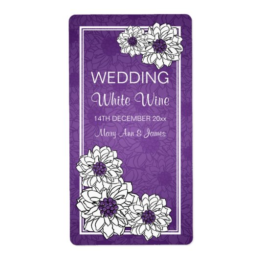 Elegant Wedding Wine Label Dahlia Floral Purple Shipping Label
