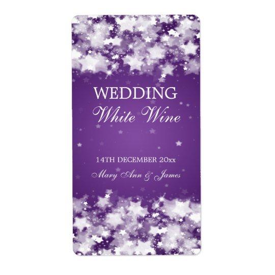 Elegant Wedding Wine Label Dazzling Stars Purple