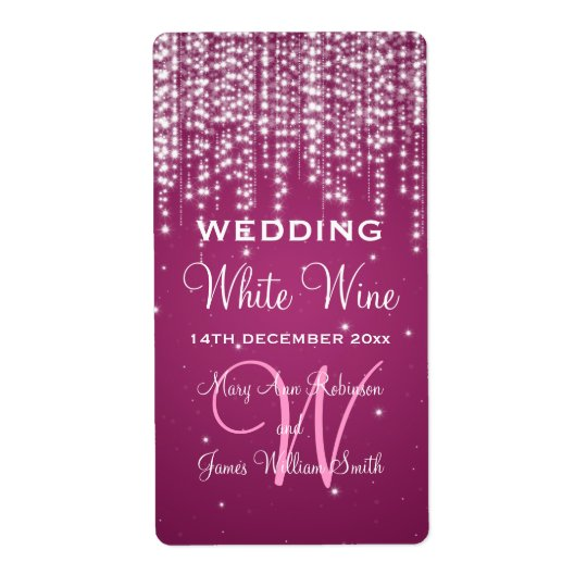 Elegant Wedding Wine Label Night Dazzle Berry Pink