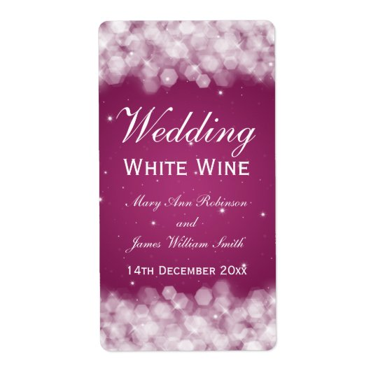 Elegant Wedding Wine Label Party Sparkle Pink