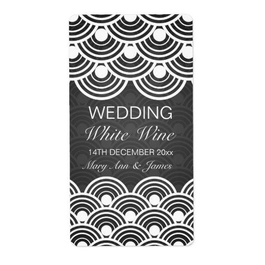 Elegant Wedding Wine Label Scalloped Pattern Black Shipping Label