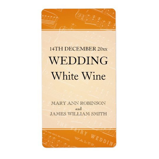 Elegant Wedding Wine Label Sheet Music Orange Shipping Label