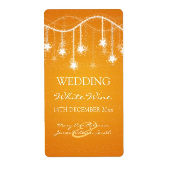 Elegant Wedding Wine Label Shimmering Stars Orange Shipping Label