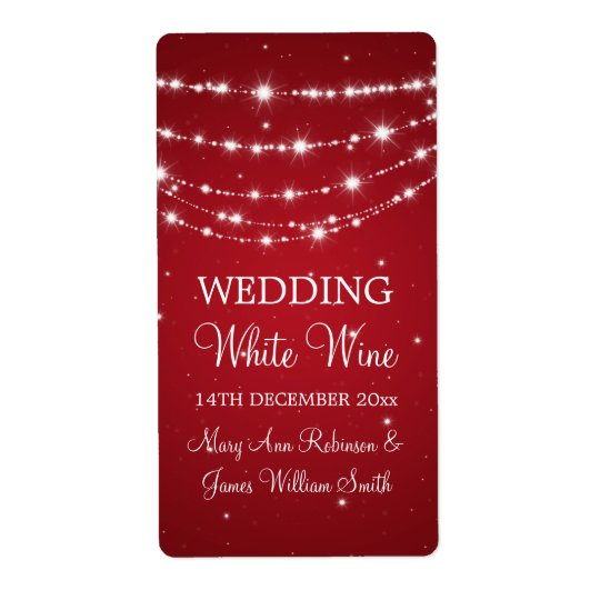 Elegant Wedding Wine Label Sparkling Chain Red Shipping Label