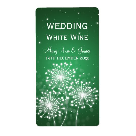 Elegant Wedding Wine Label Summer Sparkle Emerald Shipping Label