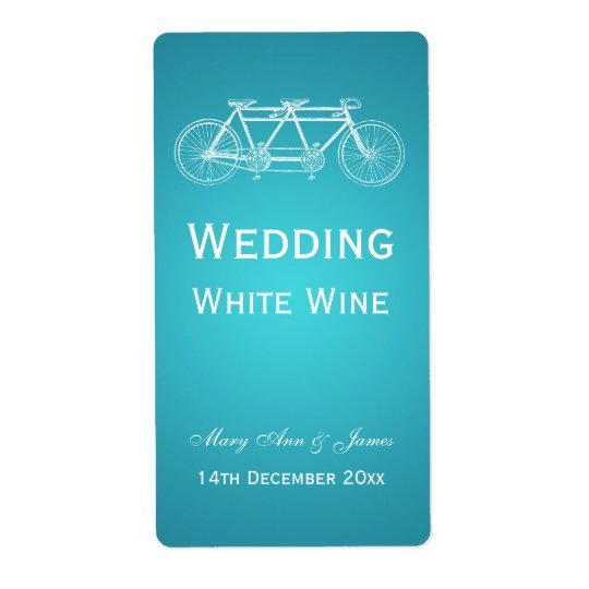 Elegant Wedding Wine Label Tandem Bike Turquoise