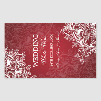 Elegant Wedding Wine Label Vintage Swirls Red
