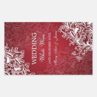 Elegant Wedding Wine Label Vintage Swirls Red Rectangular Sticker
