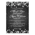 Elegant Wedding Winter Sparkle Black Personalised Announcement