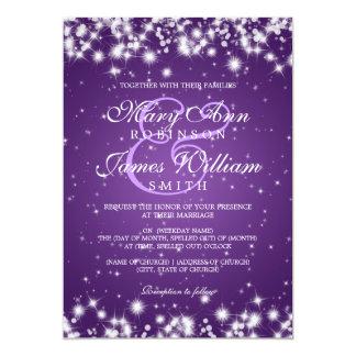 Elegant Wedding Winter Sparkle Purple 13 Cm X 18 Cm Invitation Card
